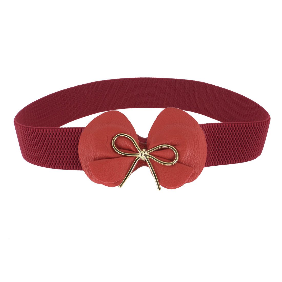 Lady Bow Tie Press Stud Buckle Textured Stretch Narrow Red Skinny Cinch Belt