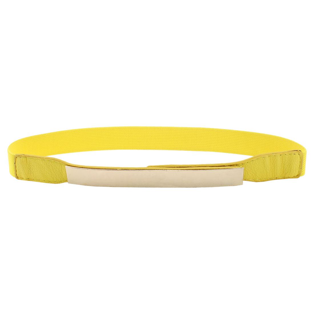 Lady Metal Press Buckle Stretchy Narrow Skinny Cinch Waist Belt Waistband Yellow