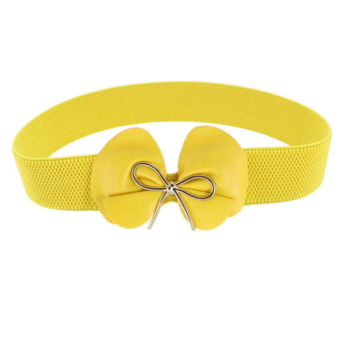 Ladies Metal Bow Tie Press Stud Buckle Stretchy Cinch Narrow Waist Belt Yellow