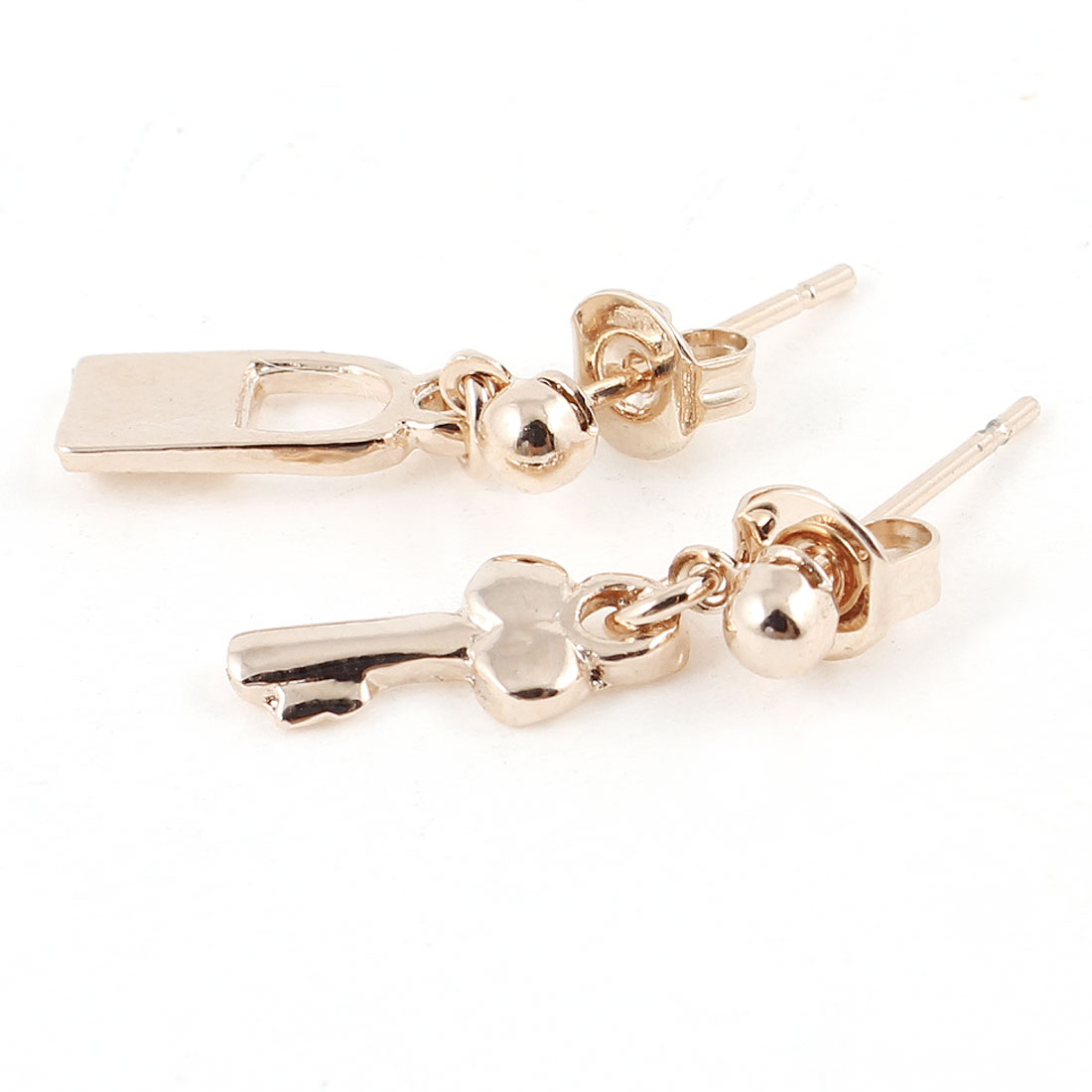 Women Lock Key Shape Gold Tone Earrings Eardrop 2 Pcs