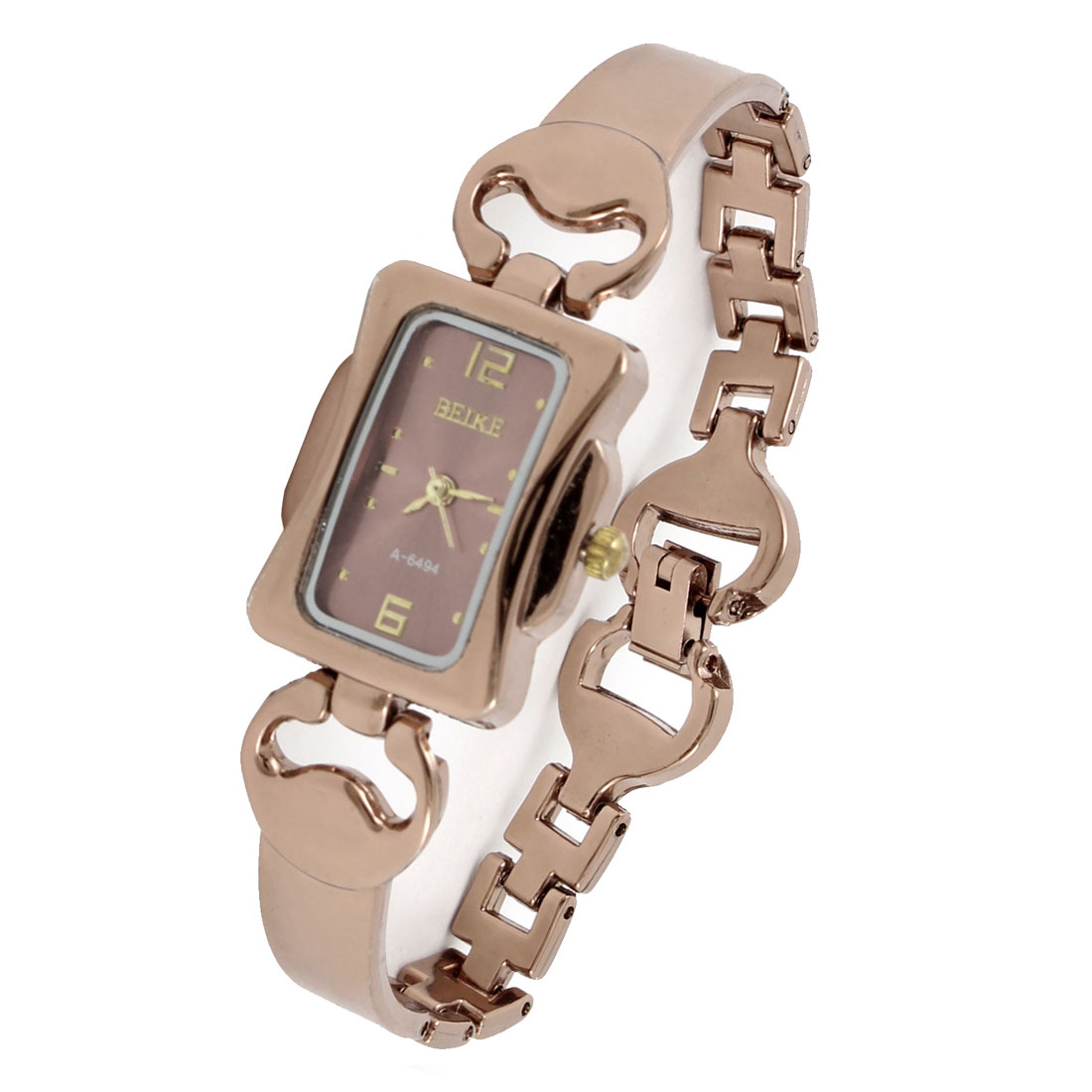 Arabic Numbers Dial Copper Tone Wristband Rectangle Cover Wrist Watch for Women