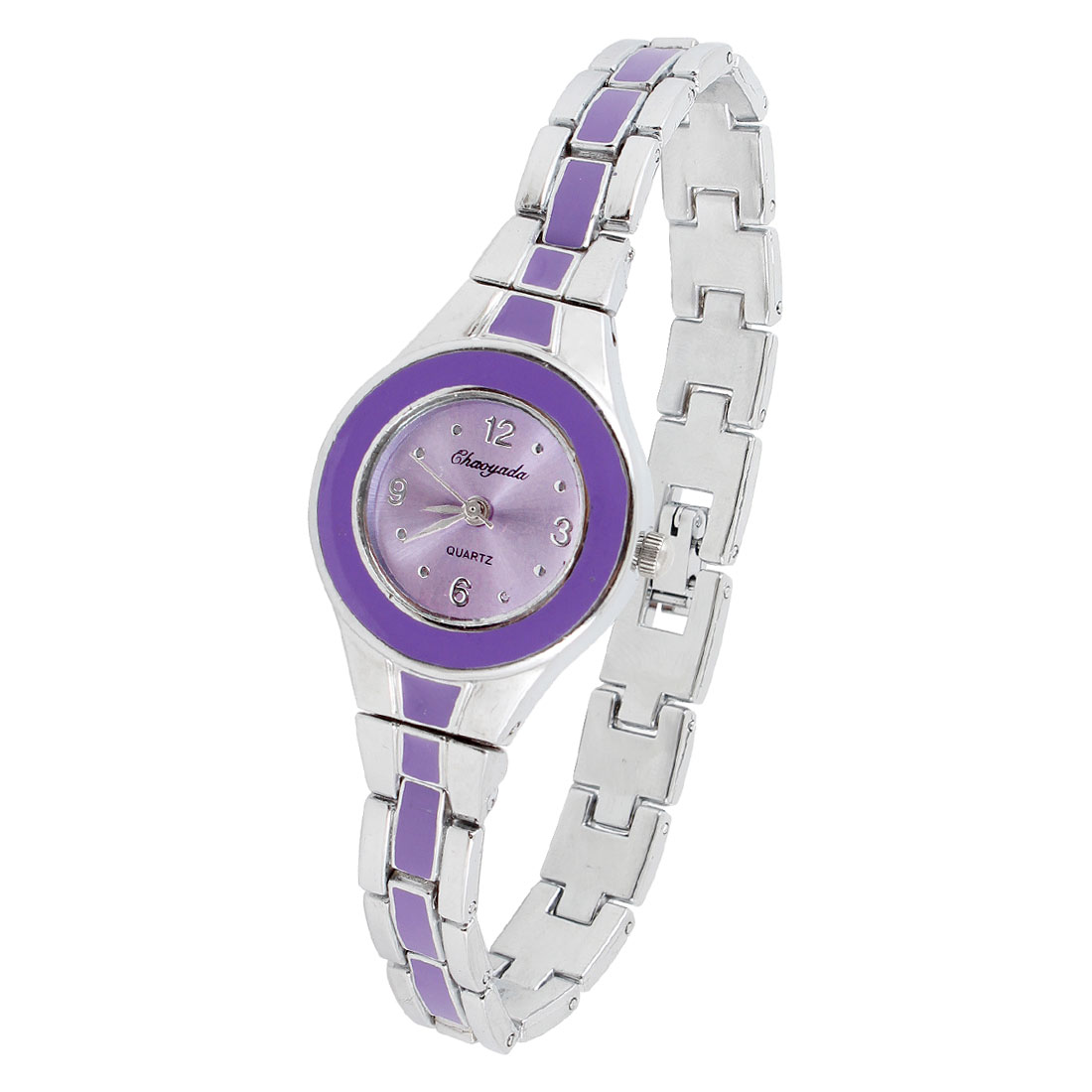 Alloy Purple Chain Linking Wristband Round Cover Wrist Watch for Lady