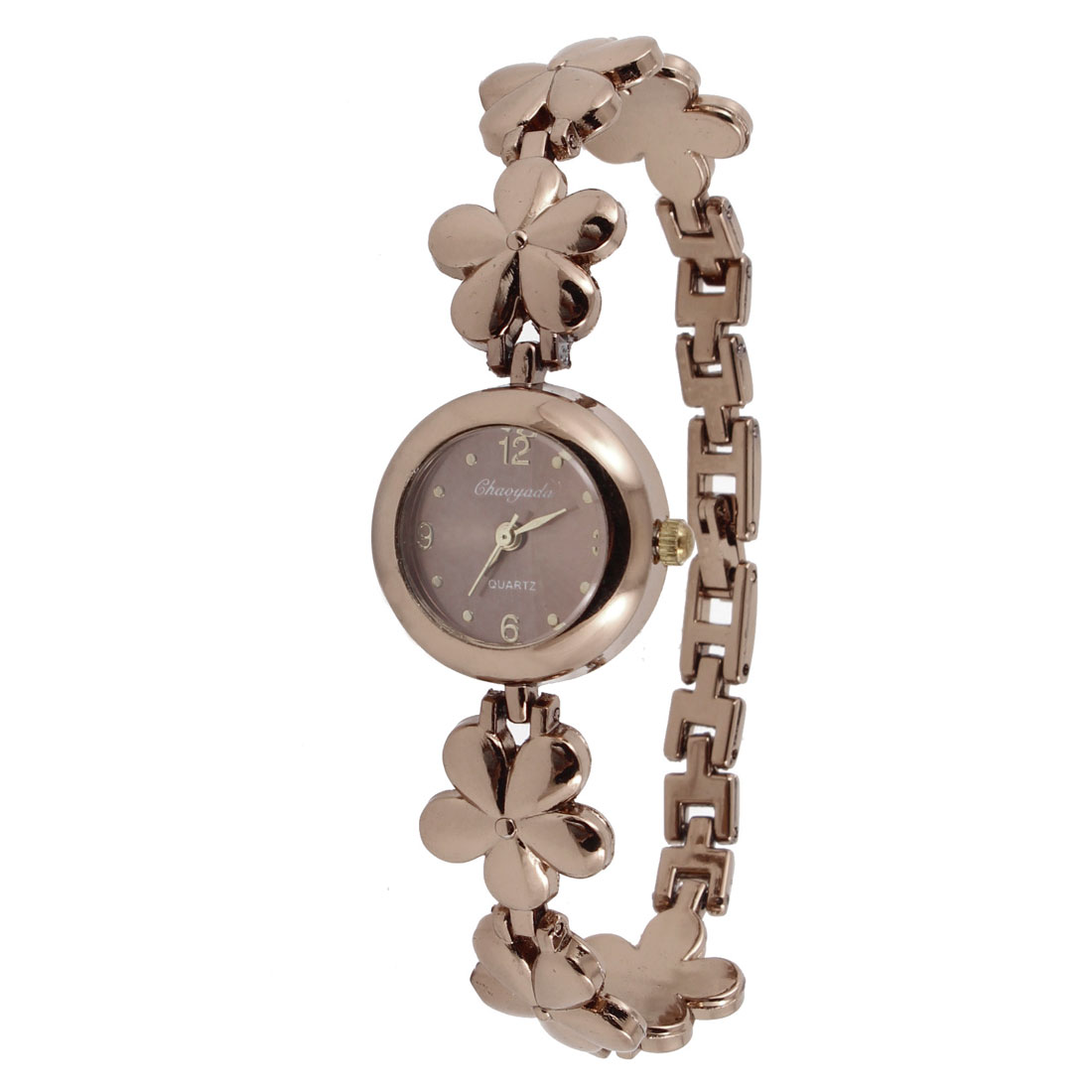 Alloy Flower Linked Copper Tone Watchband Round Cover Wrist Watch for Ladies