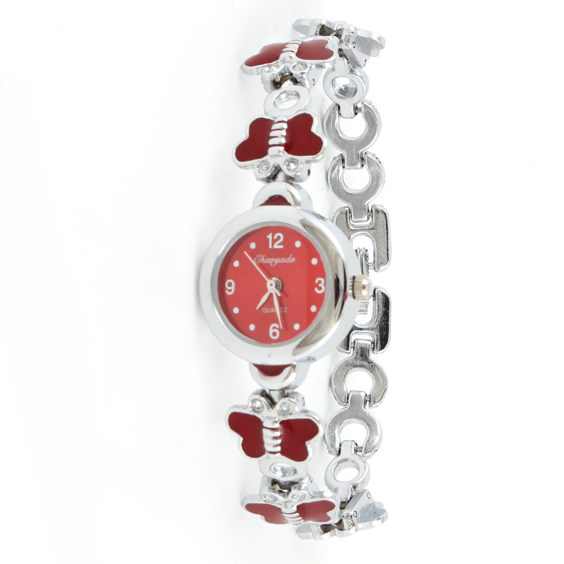 Lady Alloy Butterfly Shape Link Watchband Red Silver Tone Round Wrist Watch