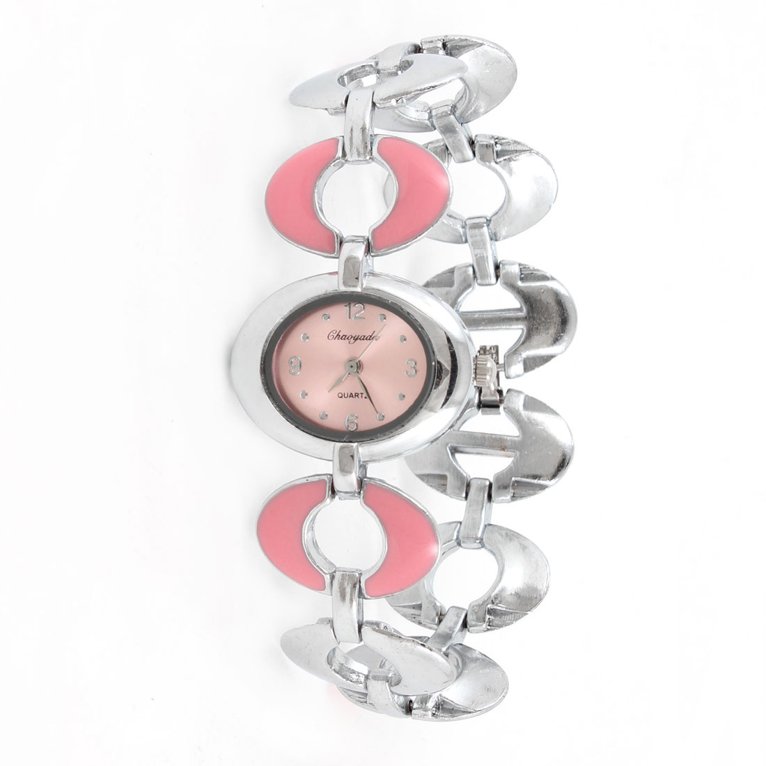 Alloy Pink Silver Tone Oval Shape Watchband Wrist Watch for Ladies