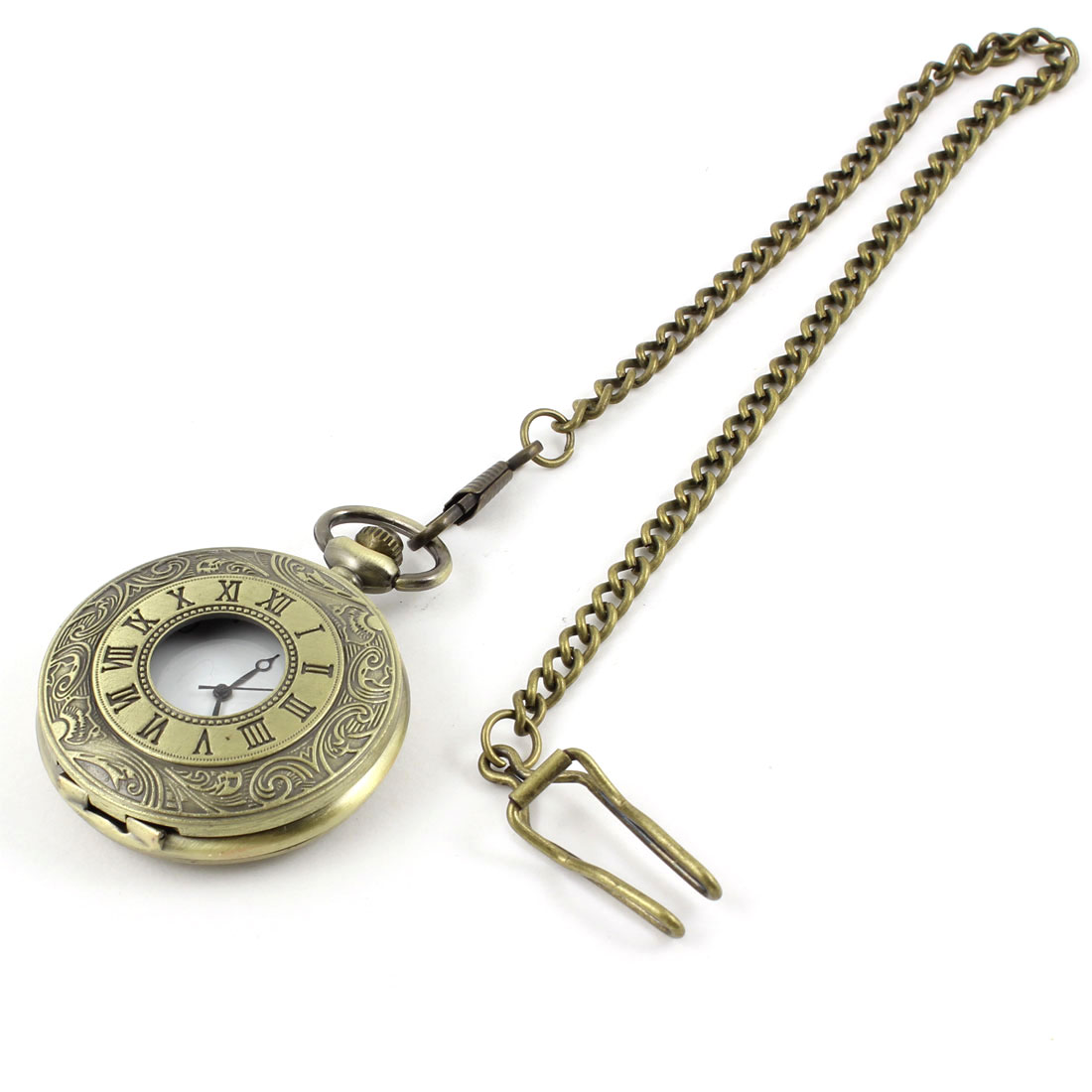 Bronze Tone Chain Clip Round Cover White Arabic Numbers Scale Pocket Watch