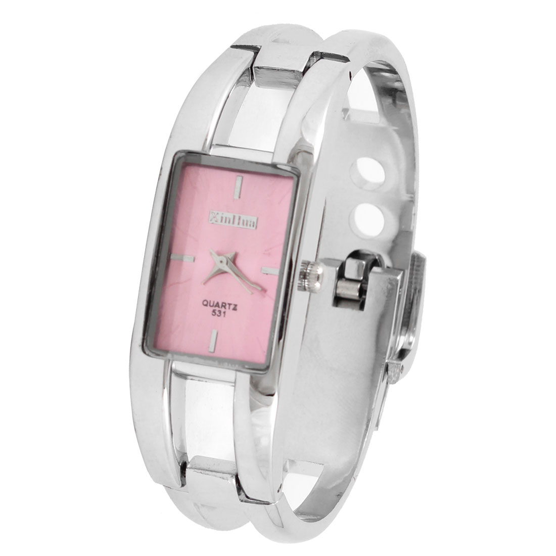 Women Pink Dial Rectangular Cover Silver Tone Wristband Bracelet Watch