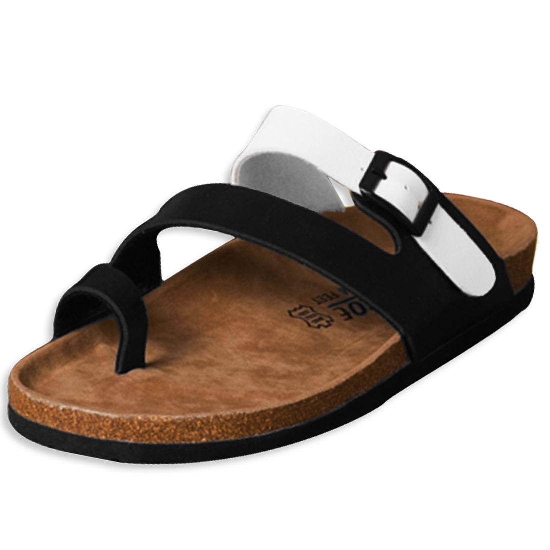 Unisex Single Buckle Black White Slide Sandals US 6