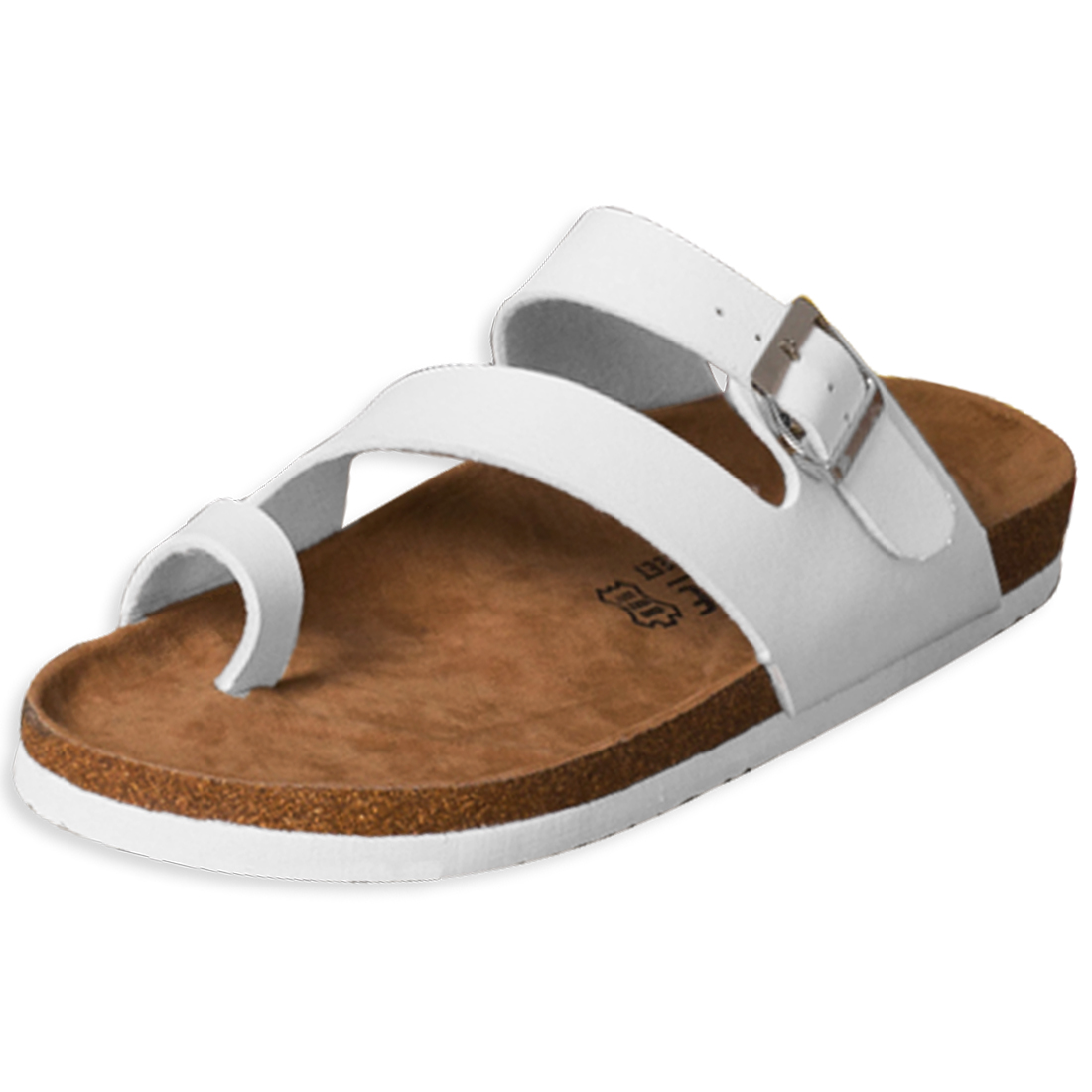 Men & Women Toe Loop Stylish Buckled White Sandals US 6