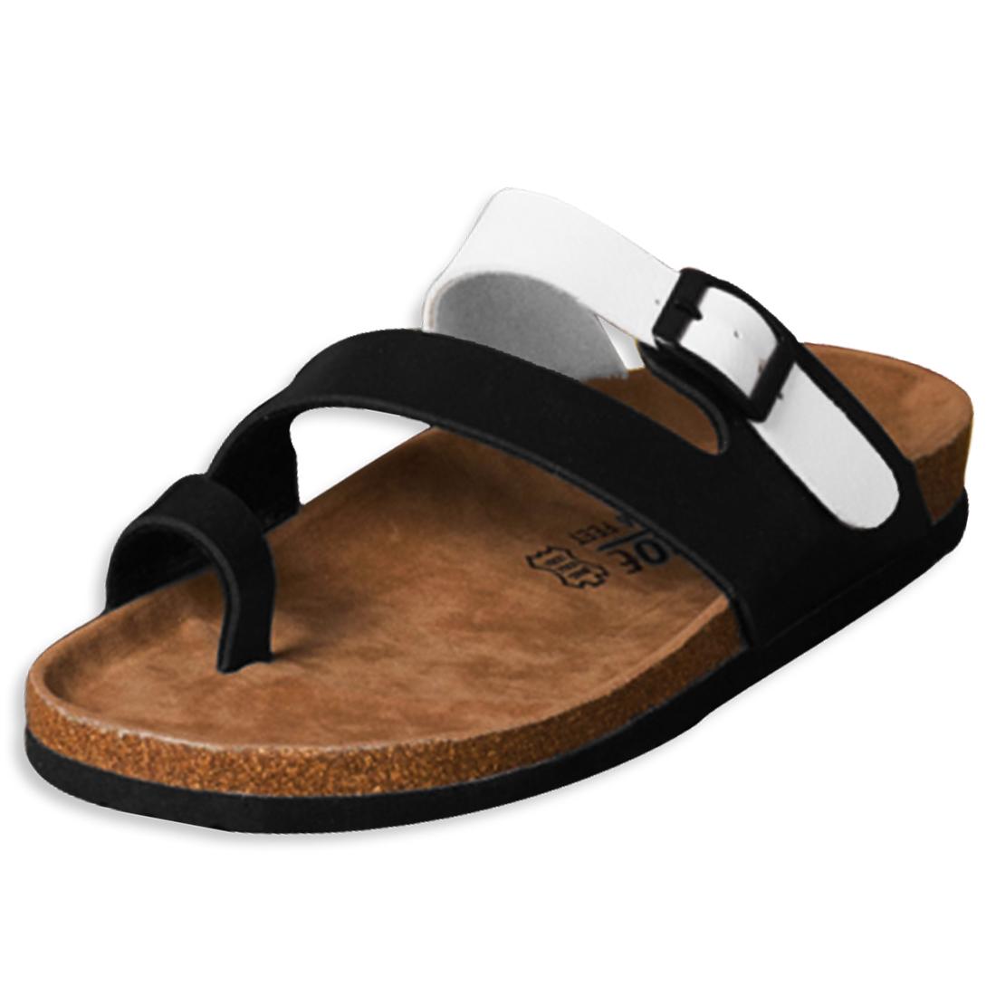 Black White Toe-ring Buckled Sandals for Women & Men US 9