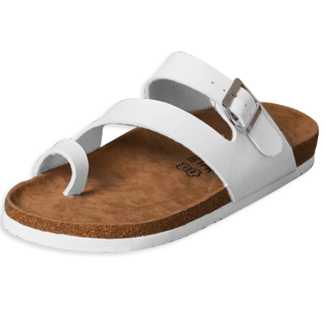 Unisex Faux Leather Upper Fashionable White Sandals US 9