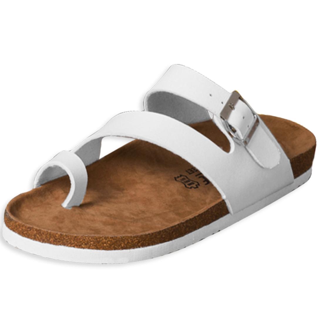Summer Beach White Buckled Slide Unisex Sandals US 11