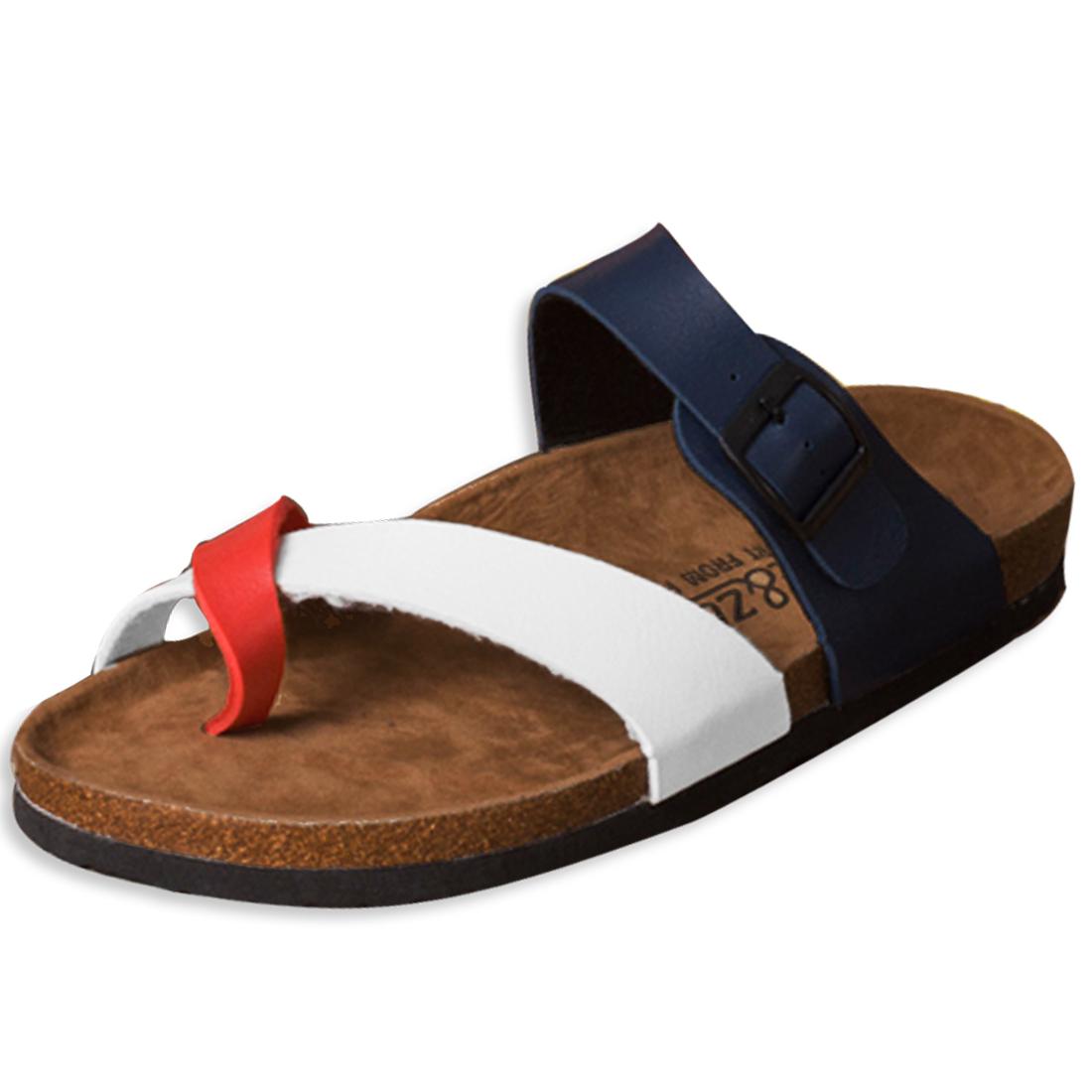 Unisex Functional Buckle Beach Sandals Dark Blue Red Size US 6