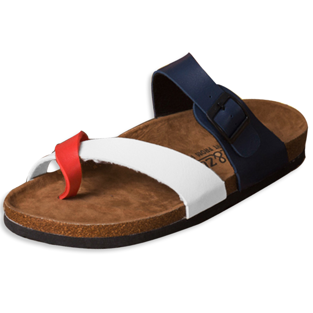 Unisex Summer Beach Faux Leather Sandals Dark Blue Red US 9