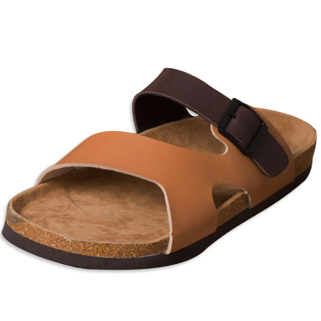 Men Coffee 10 US Size Flexible Strap Gentle Footbed Metal Buckle Sandal