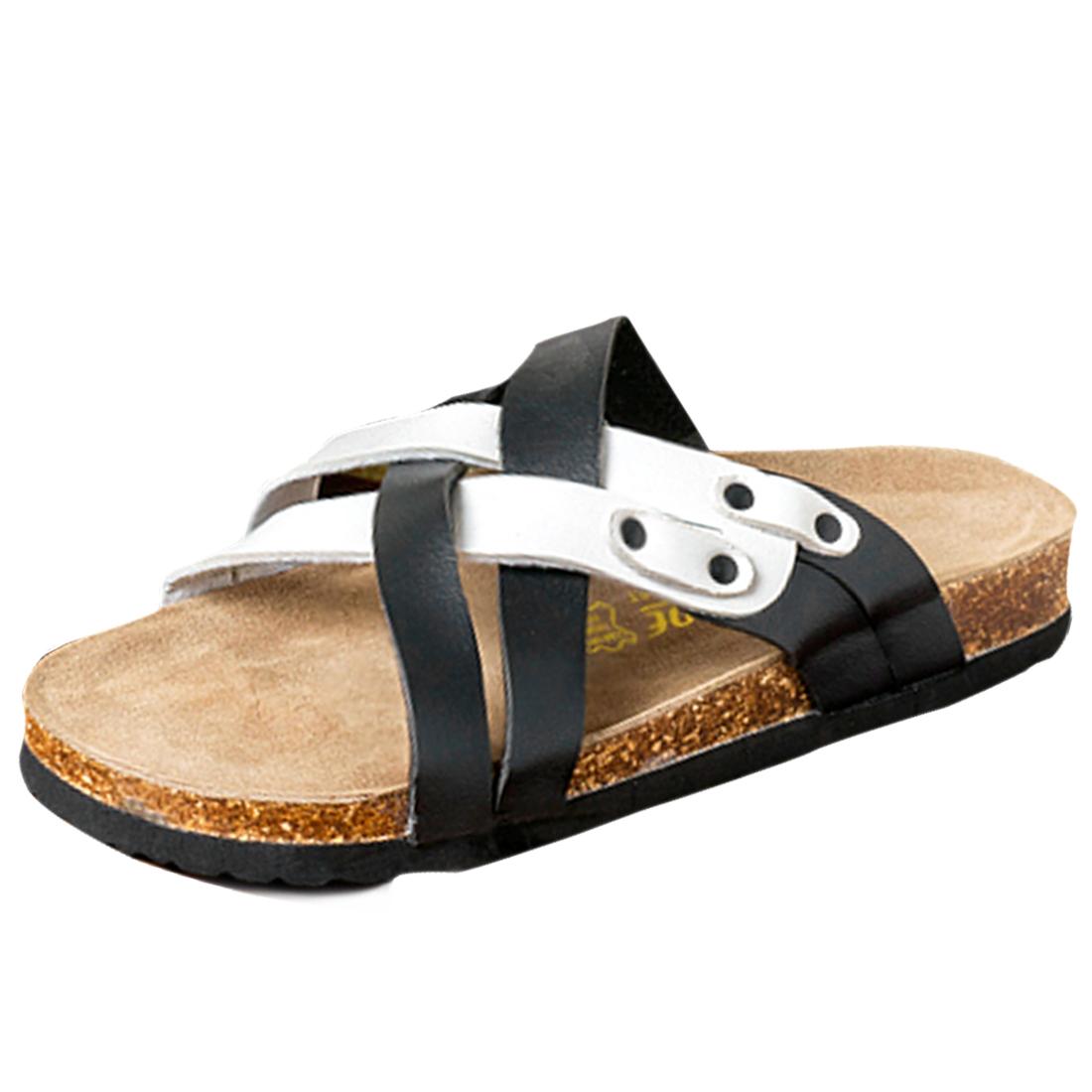 Mens Summer New Leisure Black White Cross Strap Sandals US 8