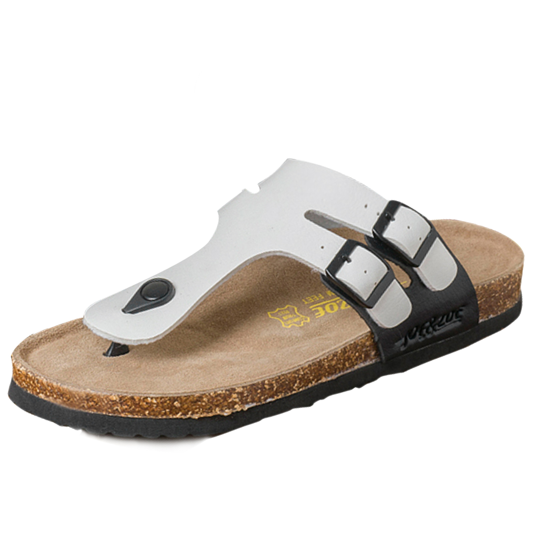 Mens Natural Crok Footbed White Black Flip Flops US 8