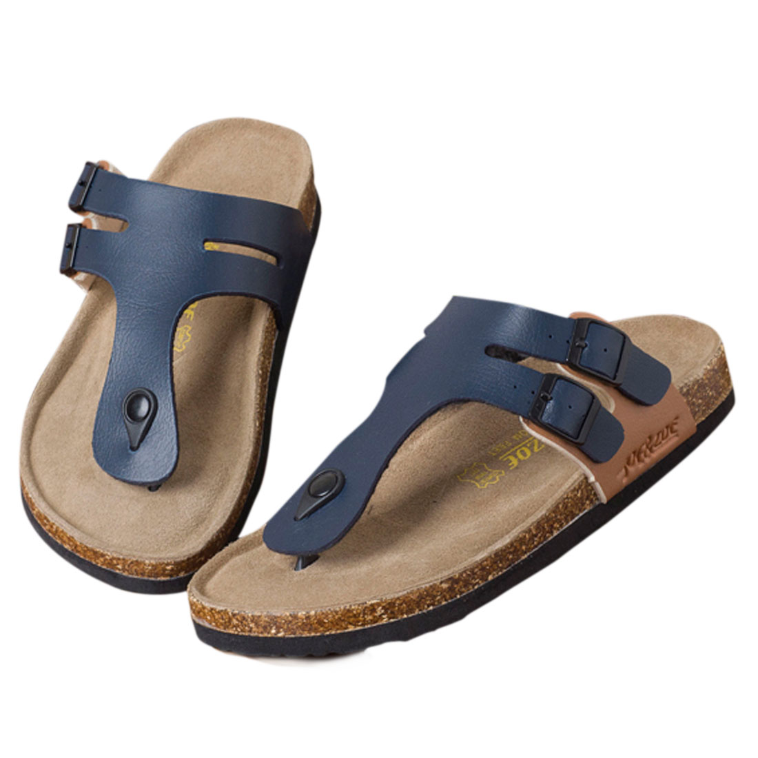 Mens Relax Cork Footbed Navy Blue Black Flip Flops US 8