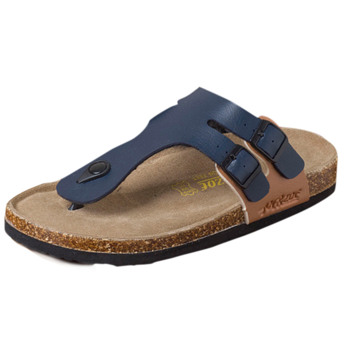 Mens Navy Blue Black Functional Buckles Casual Wear Flip Flops US 10