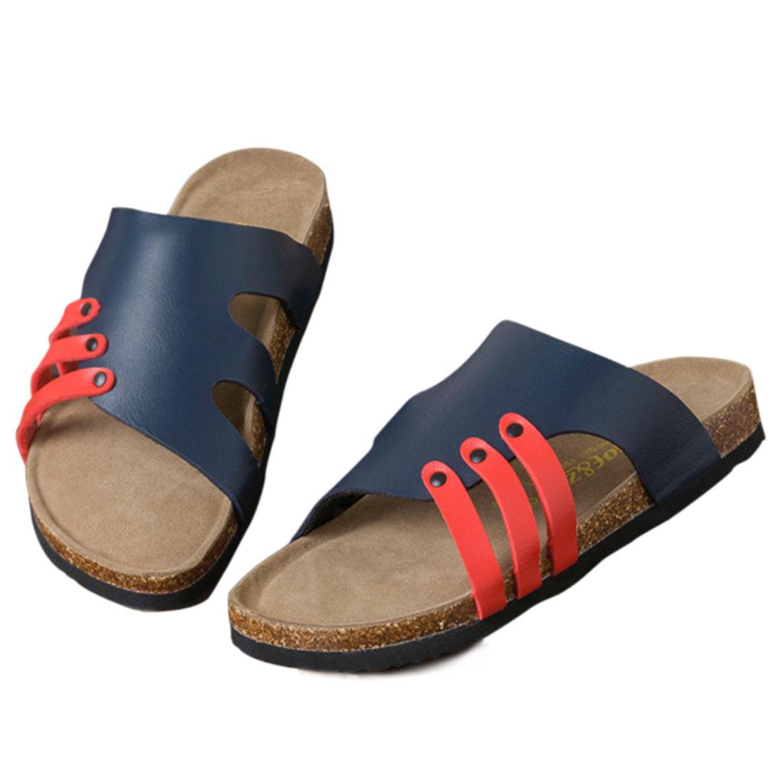 Men Color Block Upper Gentle Footbed Style US Size 10 Sandal Blue Red 43