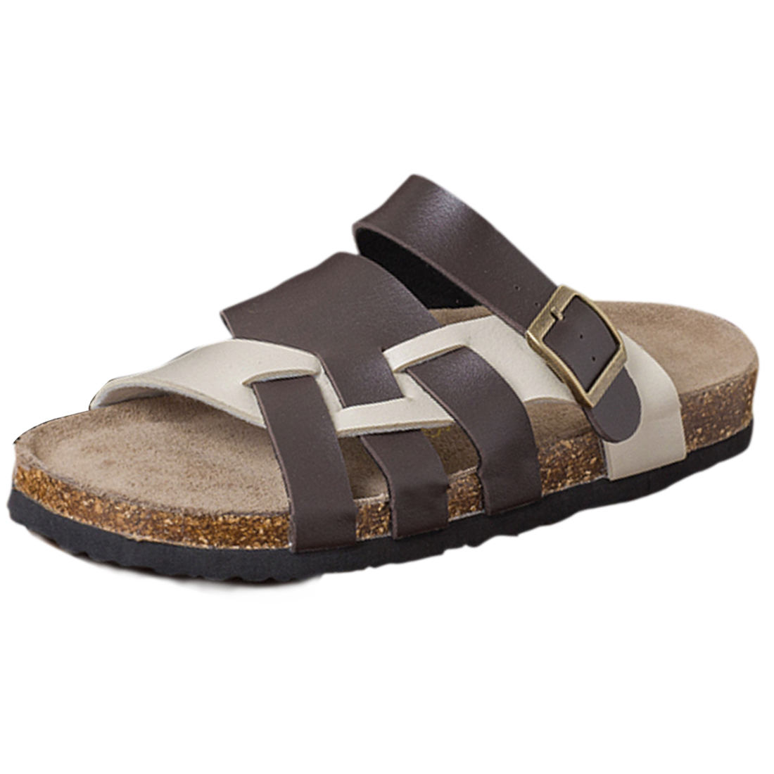 Mens Leisure Brown Beige Cross Strap Buckled Sandals US 8