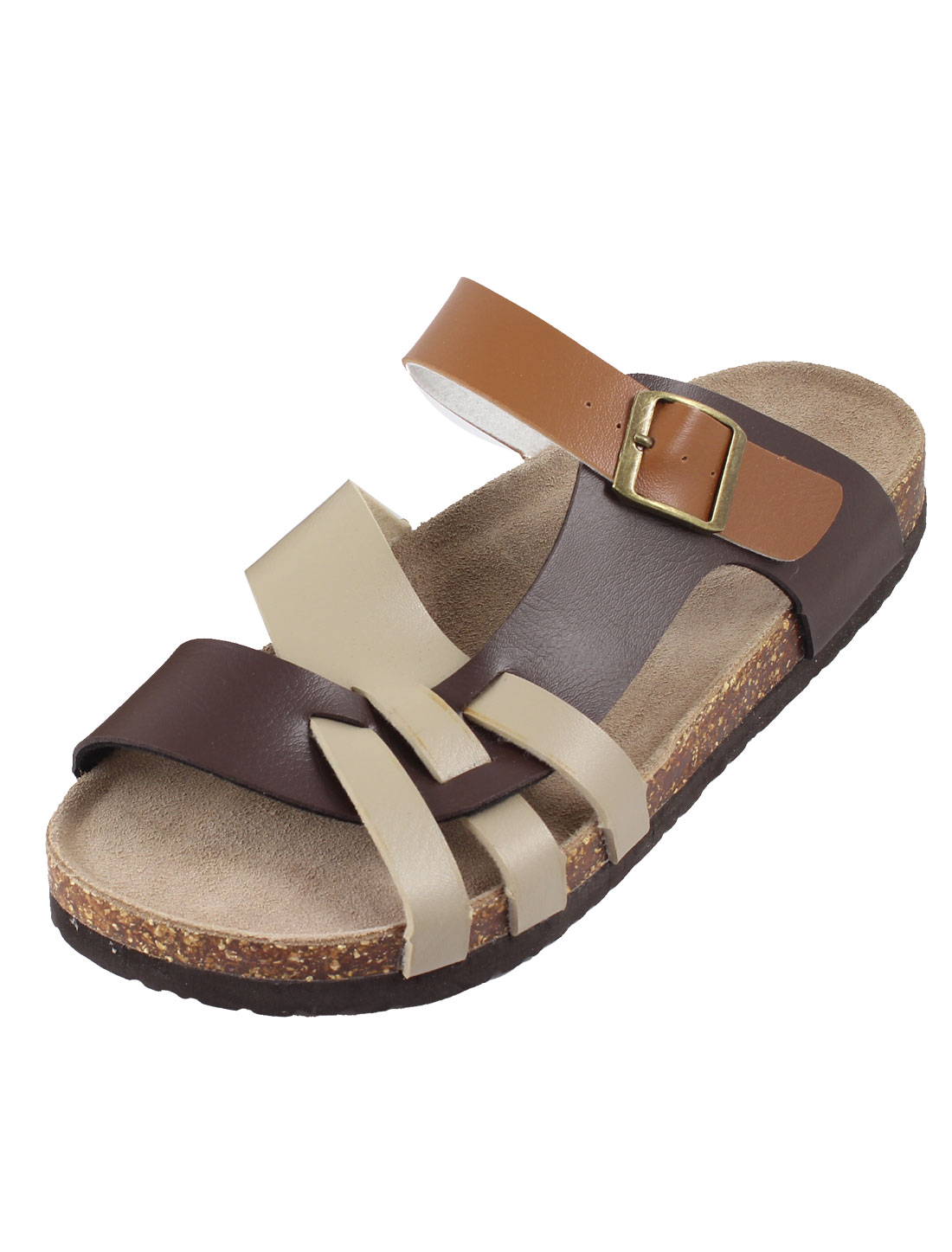 X099 Mens Stylish Slip-on Cross Strap Sandals Coffee Color Brown 43