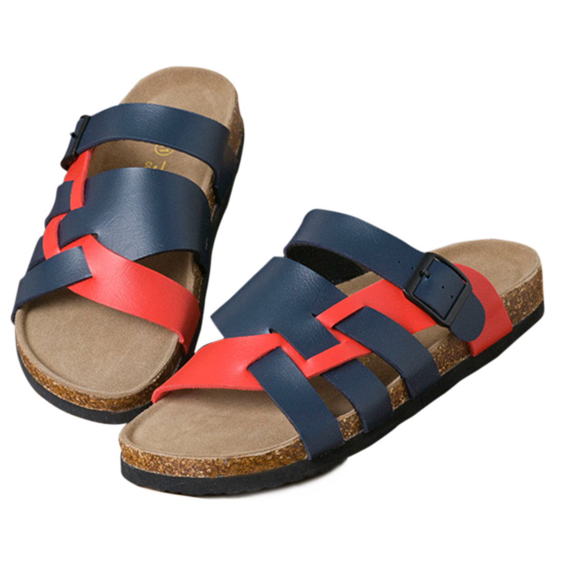 Mens Navy Blue Red Faux Leather Upper Sandals US 10