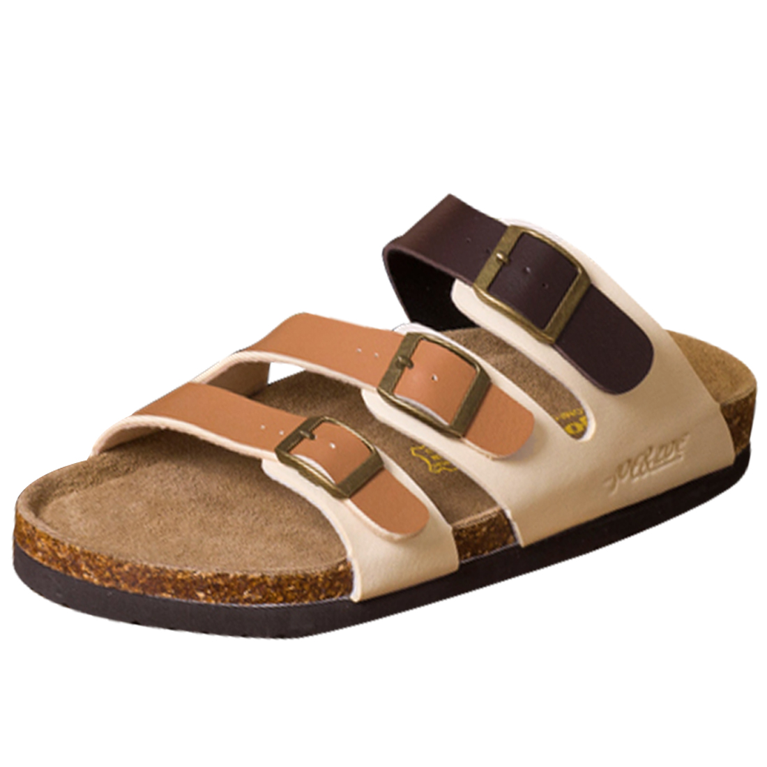 Men Light Coffee Brown White 3 Buckles Slide Sandals US 8