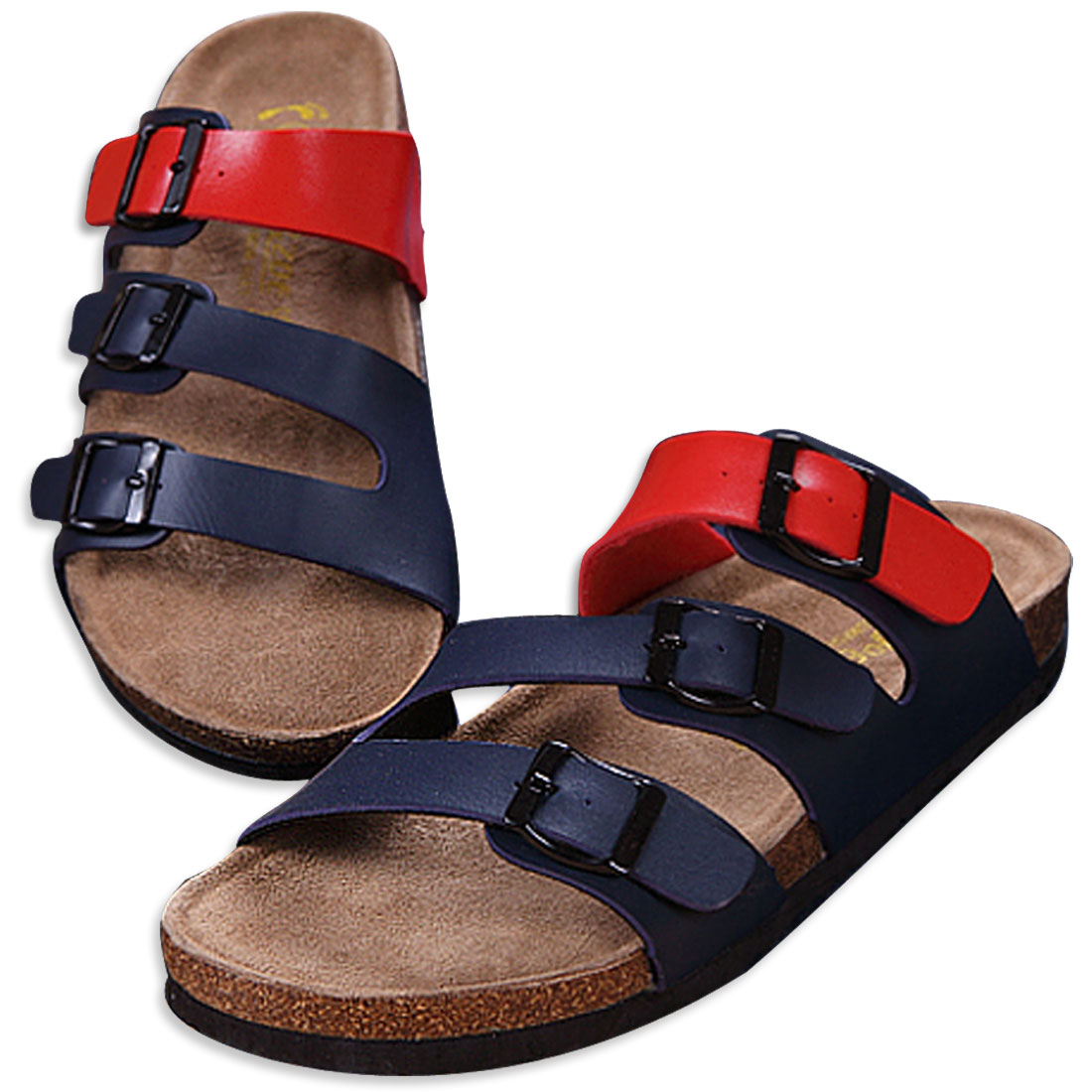 Men Personalized Cork Footbed Red Navy Blue Sandals US 8