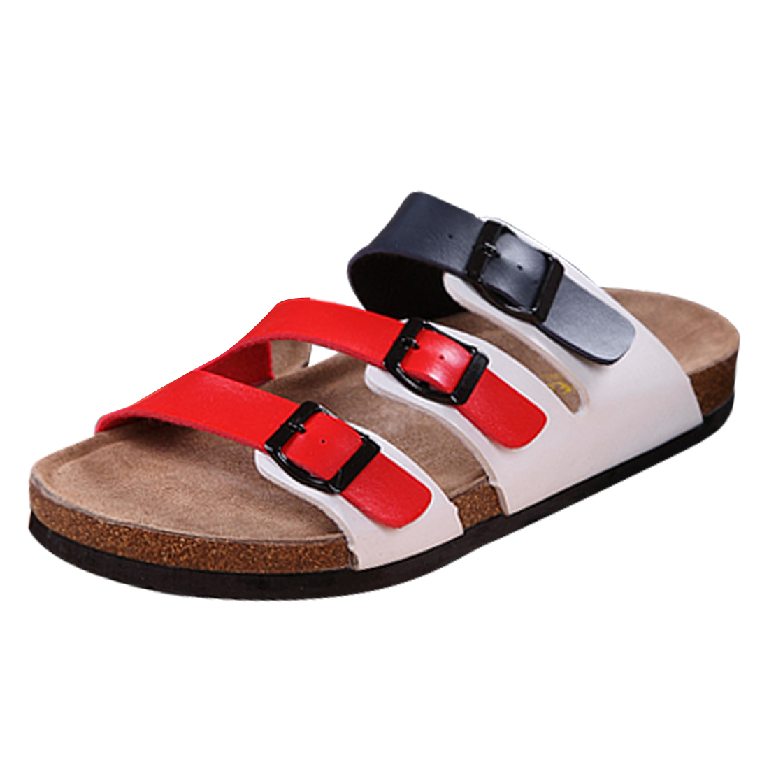 Men Casual Wear Red Navy Blue White Functional Buckles Sandals US 8