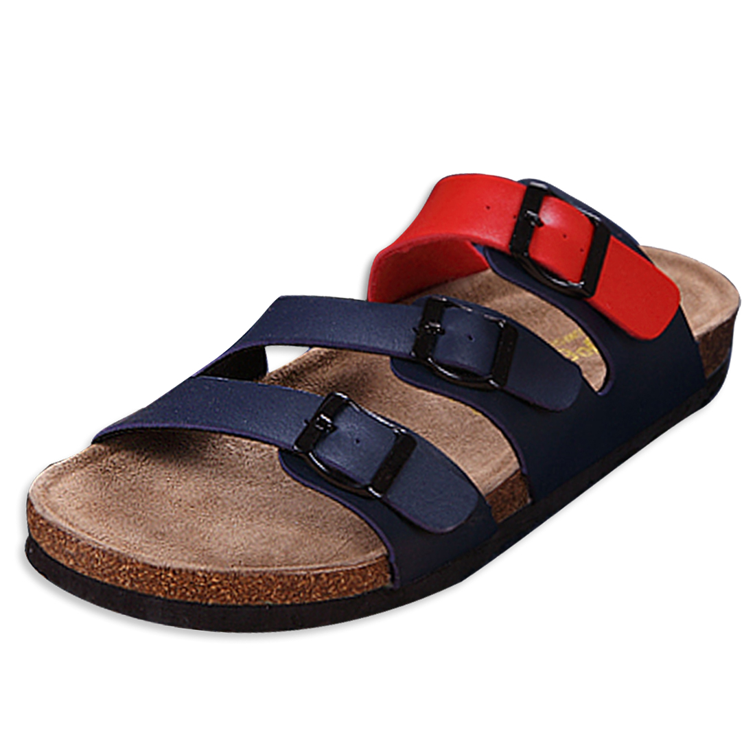 Men Outdoor Wear Slip-on Buckles Red Navy Blue Sandals US 10