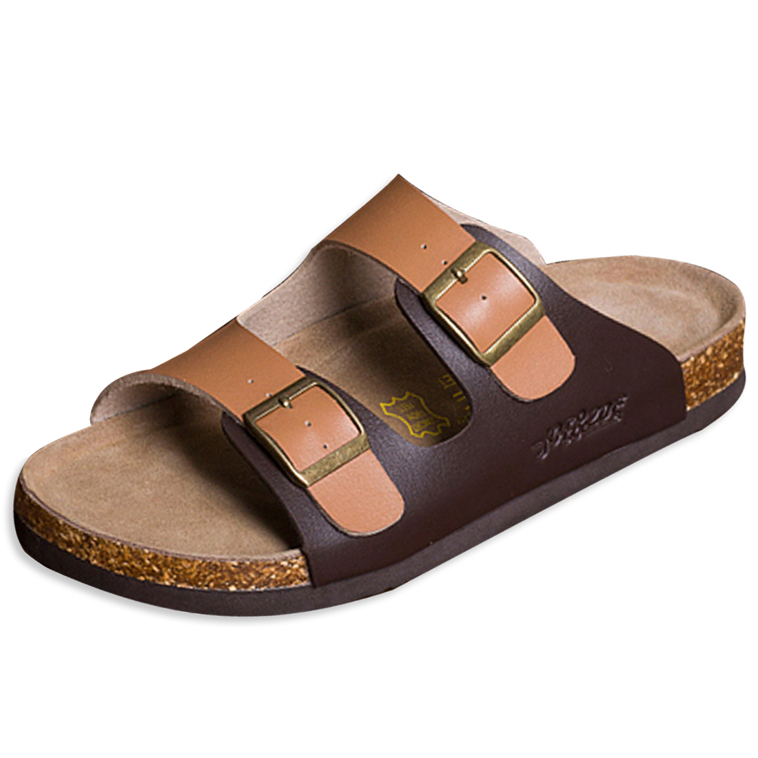 Classic Leisure Buckled Sandals Light Coffee Brown for Men US 6