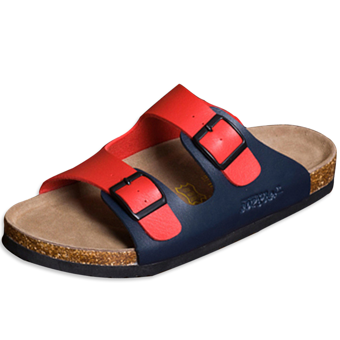 Men Two Buckles Casual Sandals Red Navy Blue US 6