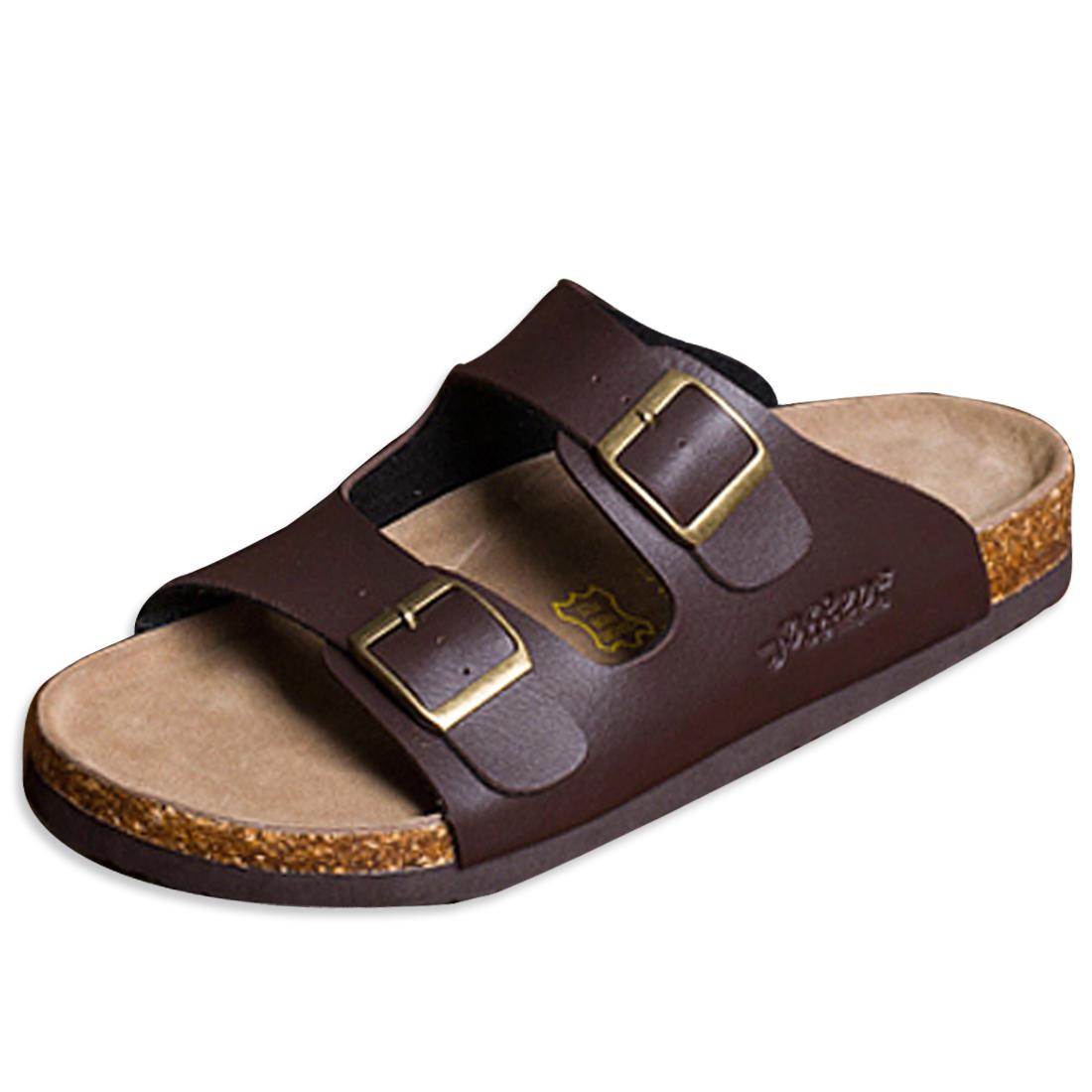 Men Fashion Adjustable Buckles Brown Sandals US 6