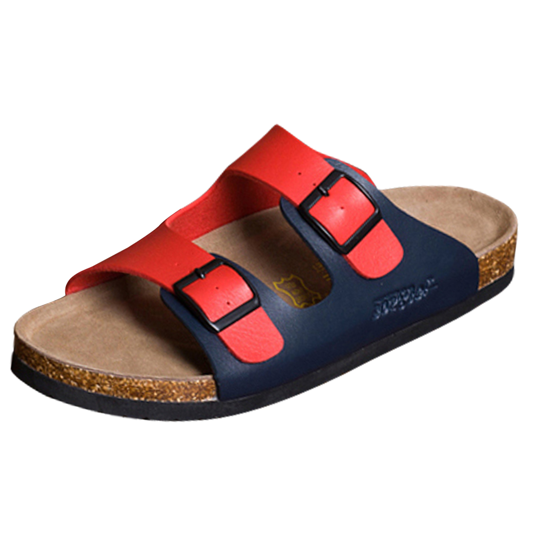 Men Adjustable Buckles Stylish Sandals Red Navy Blue US 8