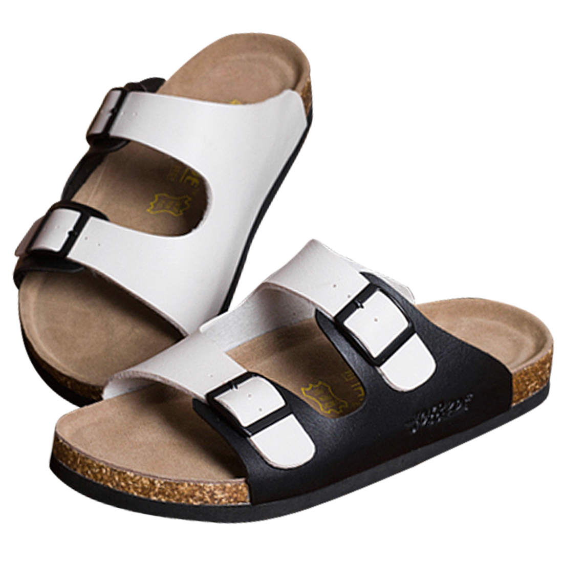 Mens Summer Leisure Two Buckles Sandals White Black US 8
