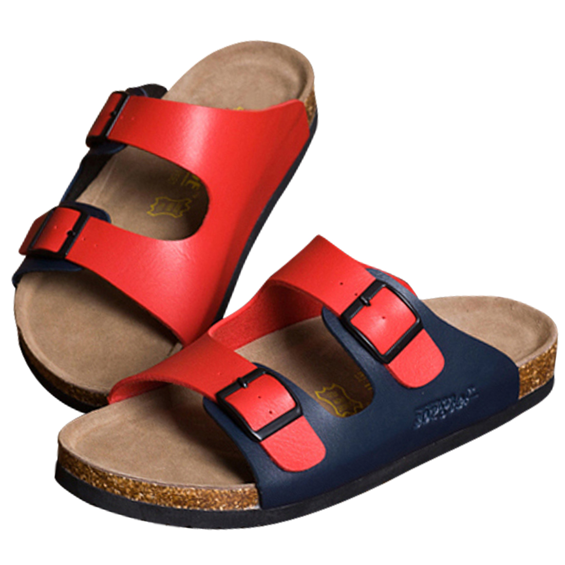 Men Fashion Adjustable Buckles Sandals Red Navy Blue US 10