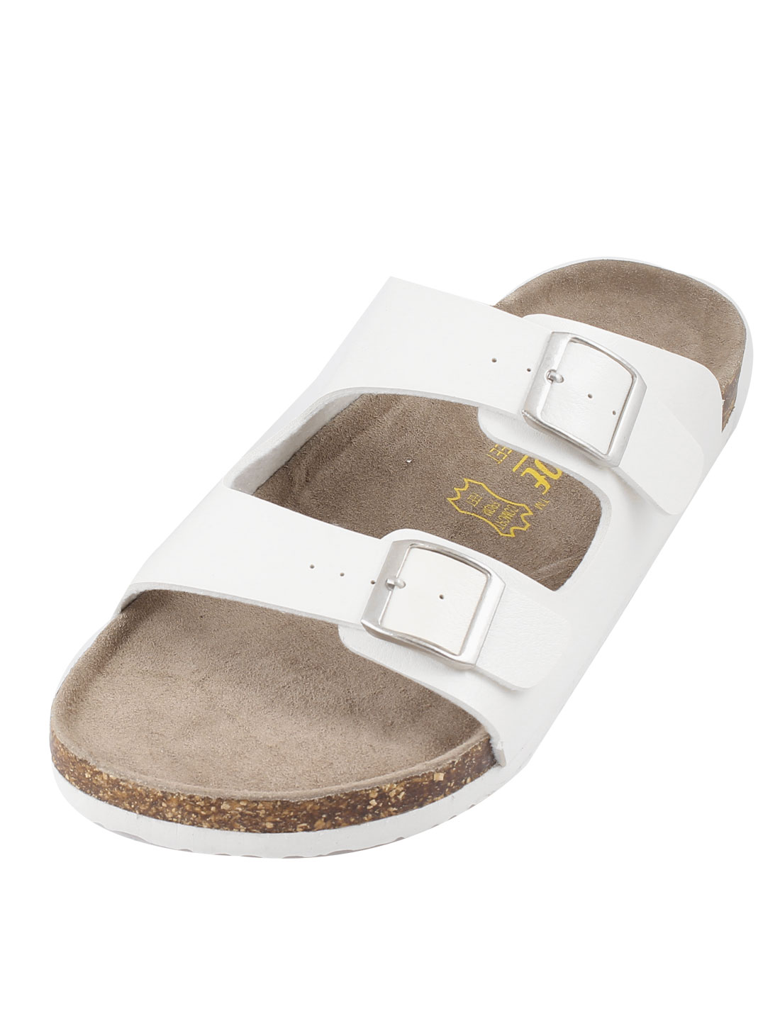 X093 Mens Fashionable Two Buckles White Sandals 43
