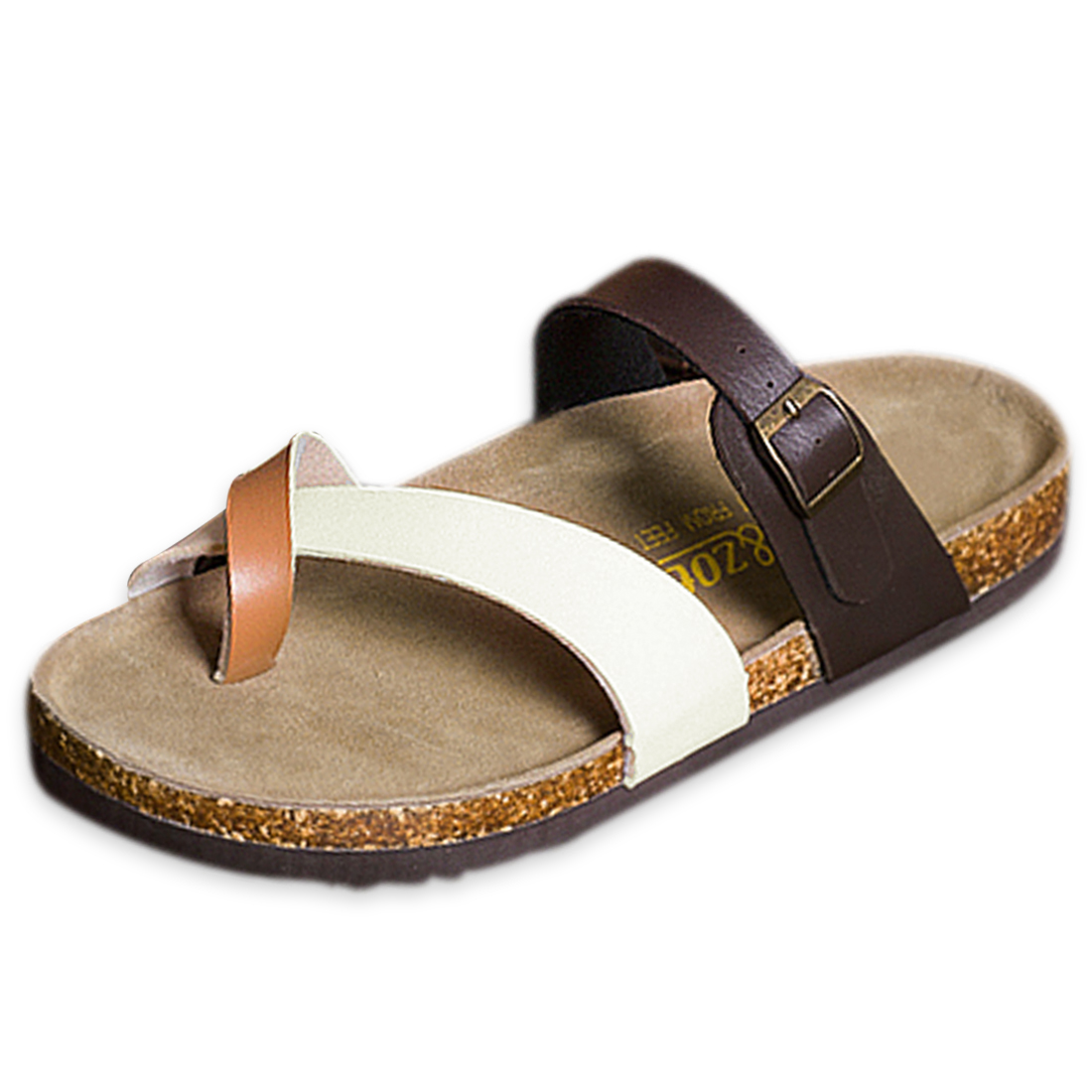Men Flexible Strap Toe Loop Style Durable Sole Sandal Coffee US Size 8