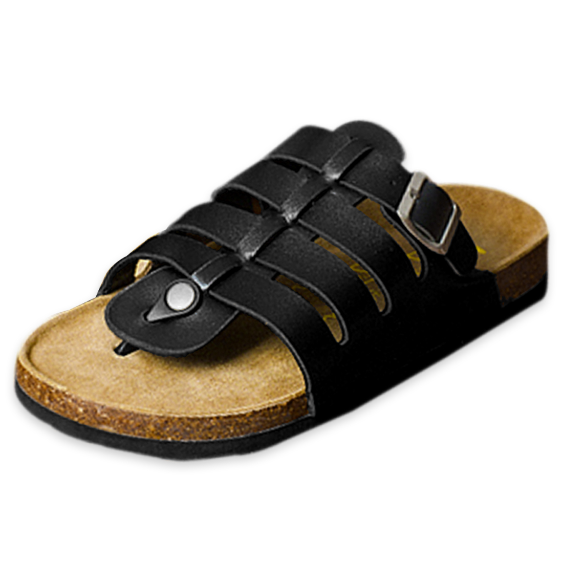 Men Faux Leather Upper Casual Black Roman Flip Flops US 8