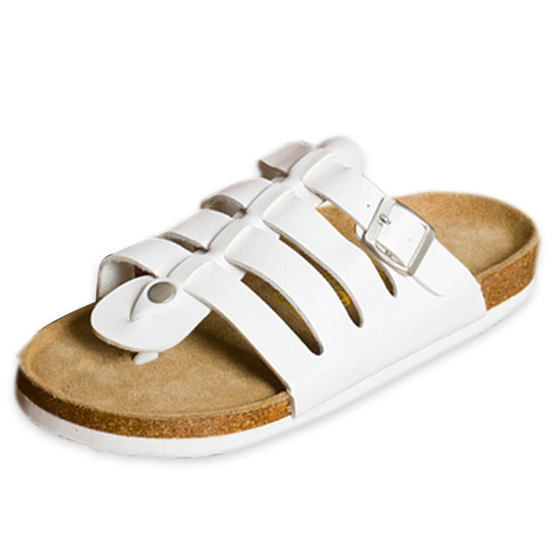 Men Casual Wear Functional Buckle Roman Flip Flops White US 8