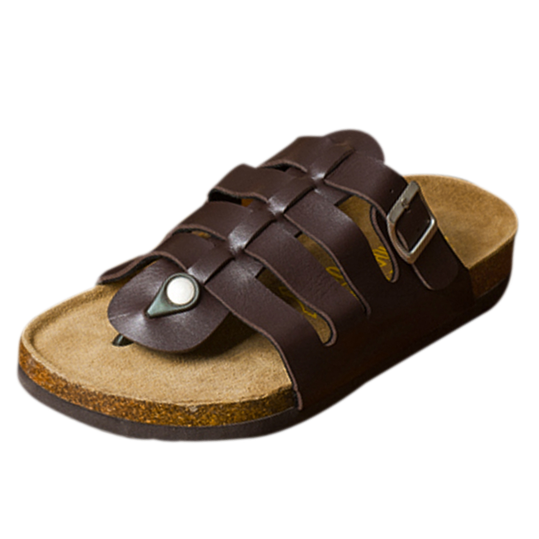 Men Brown Faux Leather Buckled Gladiator Thong Sandals US 8