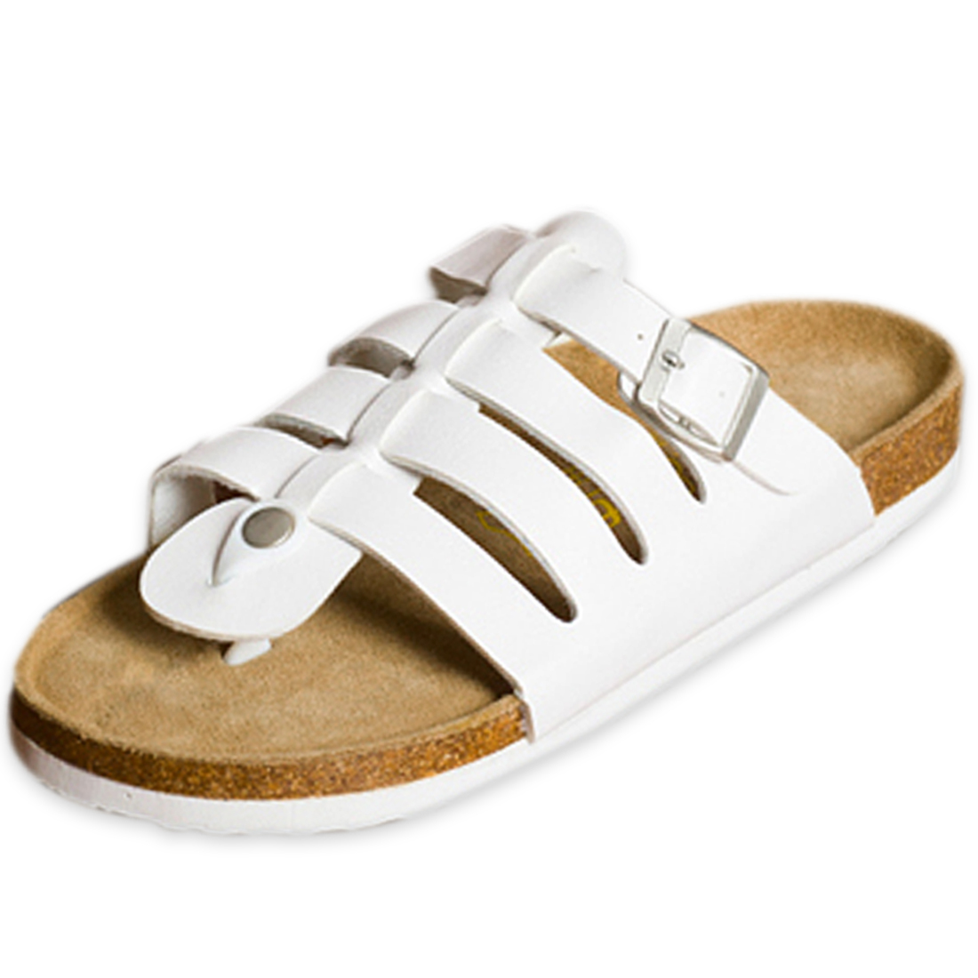 Men Natural Cork Footbed Fashion White Roman Thong Sandals US 10
