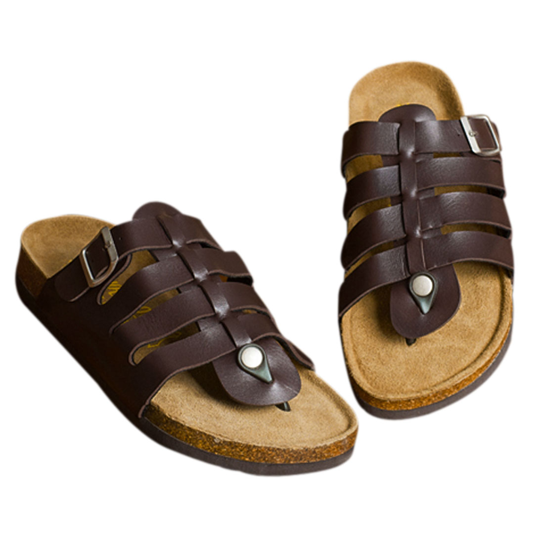Mens Vintage Style Brown Functional Buckle Roman Flip Flops US 10