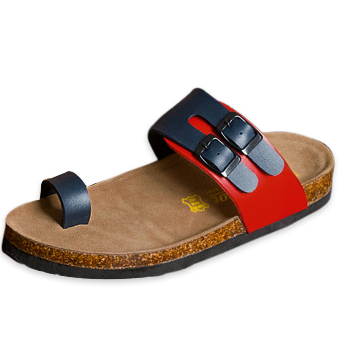 Deep Heel Cup Toe Loop Men Stylish Flip Flop Blue Red US Size 6.5