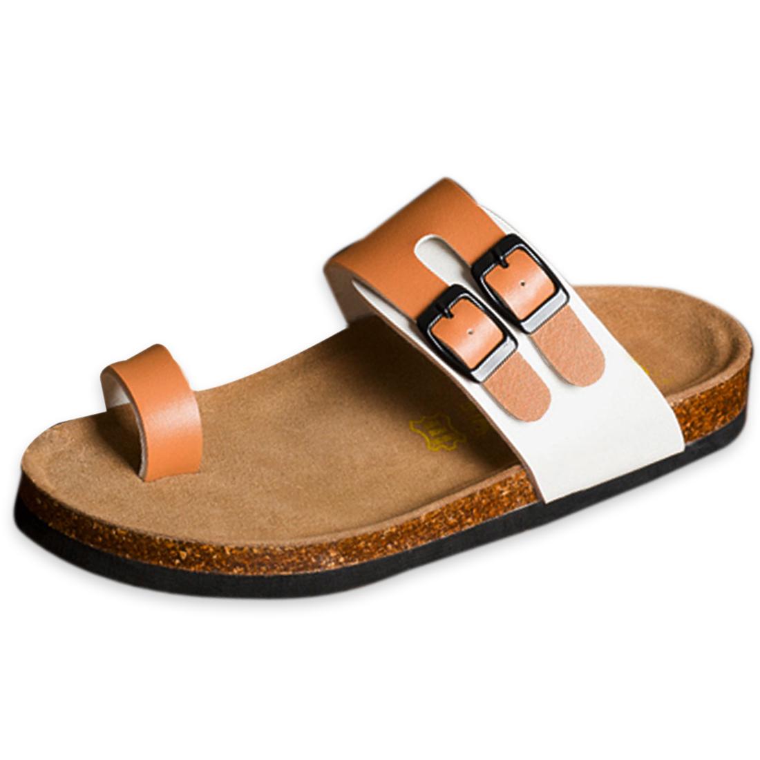 Men Roomy Toe Box Two Flexible Straps Sandal Coffee White US Size 6.5