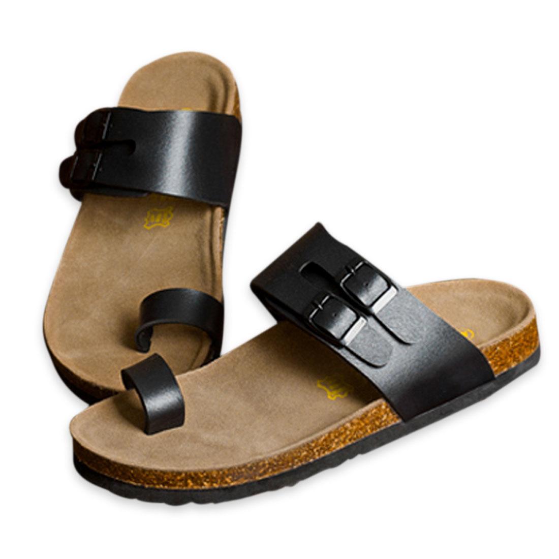 Men Waterproof Sole Roomy Toe Box Gentle Footbed Sandal Black US Size 8