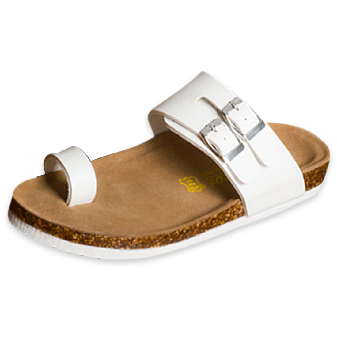 White US Size 8 Adjustable Straps Manmade Sole Toe Loop Men Sandal