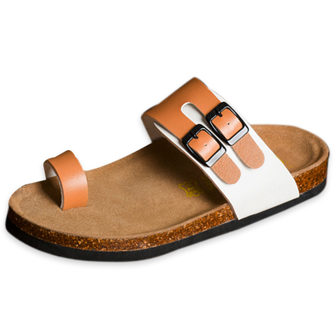 White Coffee 10 US Size Metal Buckle Strap Slide Casual Sandal for Men
