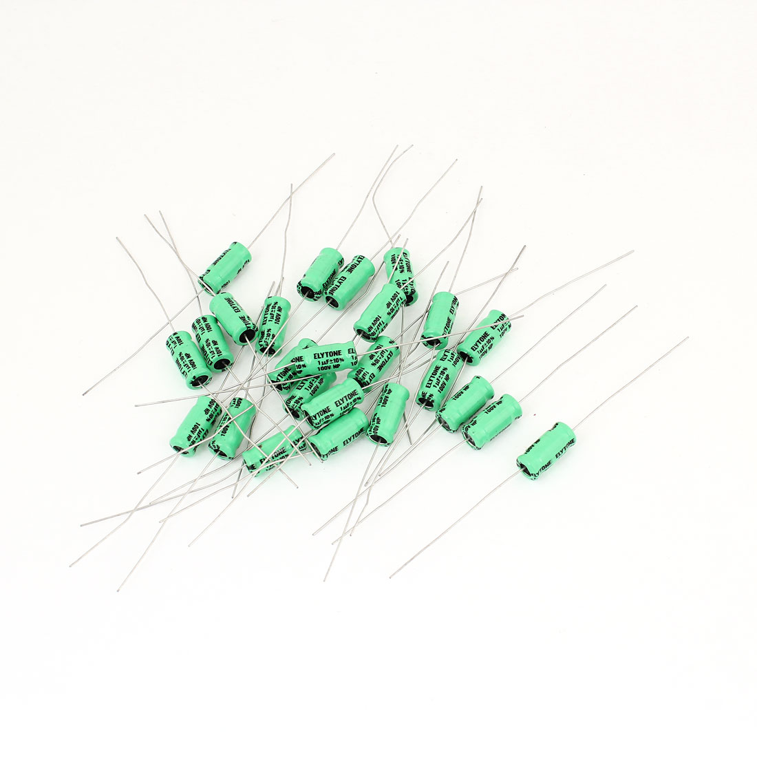 25Pcs 1uF 100V 105C Radial Electrolytic Capacitor 8mmx17mm Green